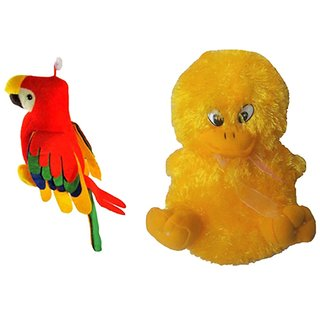 Deals India Red & Yellow Set of Musical Duck N Parrot Soft Toys