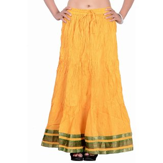 Jaipur kala kendra Womens Cotton Lace Work Medium Yellow Color Solid Long Skirt