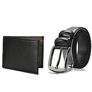 Random Mens Belt and Wallet Combo - Black