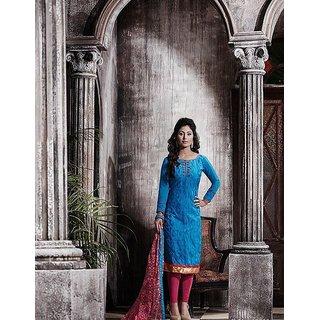 RapidDukan Un-Stitched Blue Colour Straight Salwar Suit Dupatta Material SF626