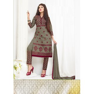 Thankar Grey Embroidered Cotton Sami Lawn Dress Material
