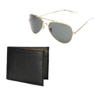 Random Mens Black Wallet and Golden Sun Shades Combo