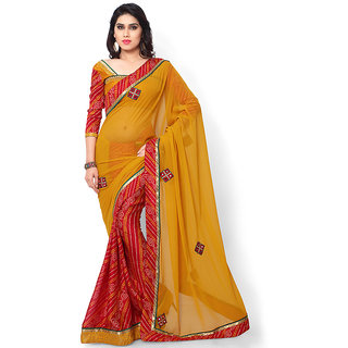 Indian Nice Women georgette Orange Color Half and Half Saree