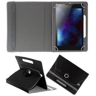 Koko Rotating 360 Leather Flip Case For Micromax Funbook P365 Tablet Stand Cover Holder Black