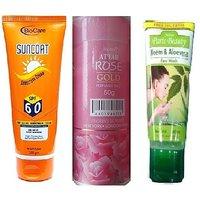 Sunscreen + Face wash + Rose Talc