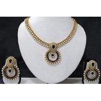 Black Stone Pearl Polki Pendant Necklace Set