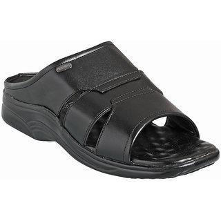 Action Dotcom MenS Black Slip On Sandals