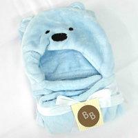 Cartoon Teddy Baby Blankets Light Blue