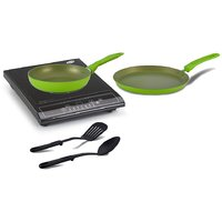 Combo Of Glen GL 3070 Induction Cooktop  ALDA Set Of 2 Non-Stick Cookware (Green)