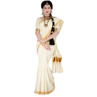 White Kerala Cotton Saree