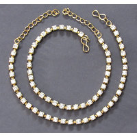 Antic White Stone Single line anklet