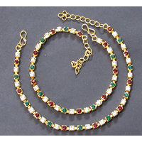 Golden Maroon Greeen Stone Single Line Anklet