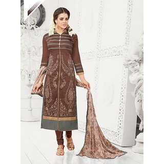 THANKAR Brown Embroidered Chanderi Cotton Dress Material