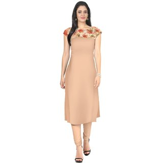 Ziyaa Brown Printed Crepe Stitched Kurti