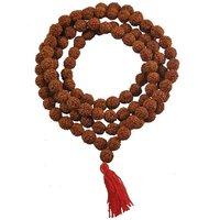 Natural Rudraksha Mala 8mm Beads- 108+1 Beads Japa/ Rosary Mala