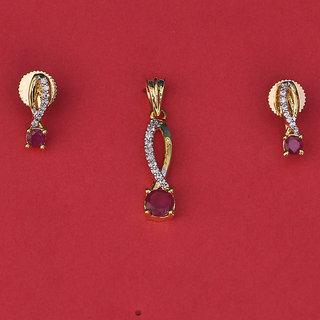 Swarajshop American Diamond In Style Pendant Set