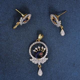 Swarajshop American Diamond In Vogue Pendant Set