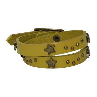 sushito Yellow Stylish Leather Wrist Band JSMFHWB0172
