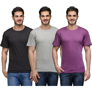 Urban Glory - Pack of 3 Mens 100 Cotton Solid T-Shirt - 414245-S