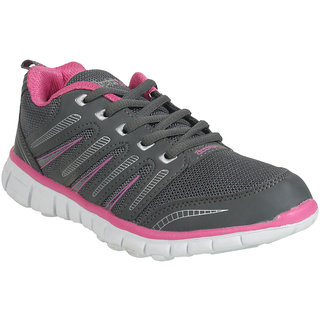 Action Shoes WomenS Grey,Pink Lace-Up Sport Shoes