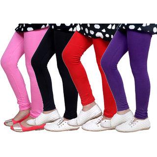 IndiWeaves Kids Super Soft Cotton Leggings (Set of -4)