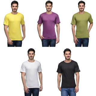 Urban Glory - Pack of 5 Mens 100 Cotton Solid T-Shirt - 4041454647-S