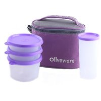 Oliveware New Lunch Bag Set Of 4 (Lb54 Purple)