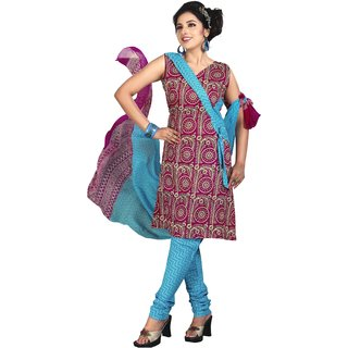 Karishma Suits Pink-Blue Cotton Jacquard Floral Print Unstitched Suit