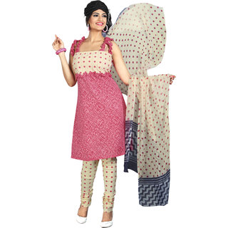 Karishma Suits Pink-Cream Cotton Jacquard Attractive Print Unstitched Suit