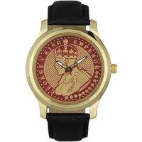 Jack Klein King Emperor Black Leather Strap Round Dial Men Analog Watch