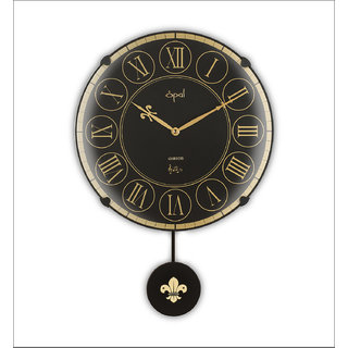 Opal Wall Clock Black Round Strike With Pendulum Available