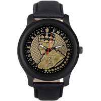 Jack Klein King Emperor Round Dial Black Leather Strap Men Analog Watch