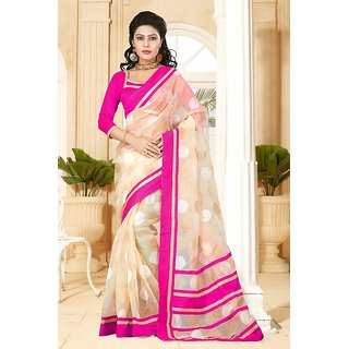 Sareemall Black And Pink Jekard With lace Border saree and Matching blouse TMJ122