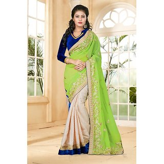 Sareemall Parrot Green And Cream Georgette And Jekard Butti With lace Border saree and Matching blouse TMJ126