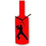 Cricket Master Blaster Style Red & Black Wall Clock Design 1