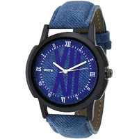 Oura-BLDN-268 Analog Round Blue Dial Casual Wear Leather Watch For Men