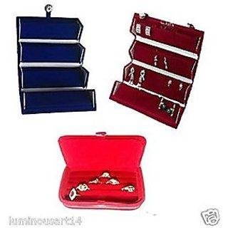 Atorakushon 2Earring 1Ring jewellery Jewelry Box Vanity Makeup Kit Case Storage Organizer
