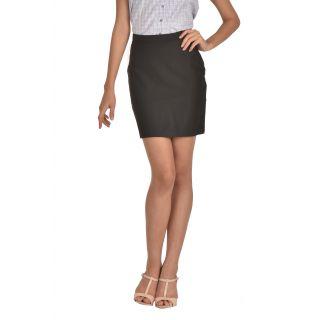 Bombay High womens polyviscose striped formal skirt(Black)