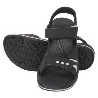 KaceyS Ks46 Comfortable Soft Synthetic Black With White Strips Sandle For Men