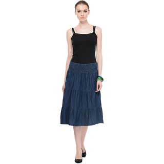 Ruhaans Blue Polyester Solid/Plain Casual Skirt