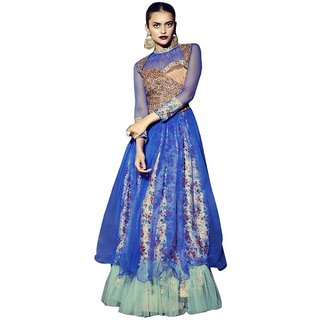 Triveni Adorable Blue Colored Embroidered Silk Net Gown