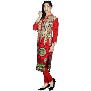 Sukuma Red Printed Rayon Stitched Kurti