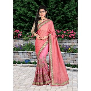 Thankar online trading Pink Net Embroidered Saree With Blouse