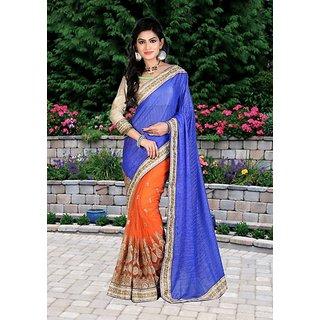 Thankar Blue  Orange Multy Work Lycra Silk  Nylon Net Half And Half Bollywood Designer Saree
