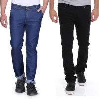 Stylox Black,Blue Mid Rise Slim Fit Jeans For Men (Pack Of 2)