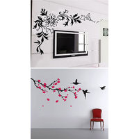 Walltola Wall Stickers Blossoms With Humming Birds And Lcd Black Floral Combo