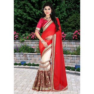 Thankar Red  Cream Multy Work Georgette  Nylon Net Half And Half Bollywood Designer Saree