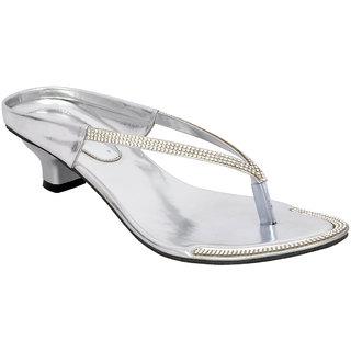 Altek Designer Kitten Heel Silver Sandal
