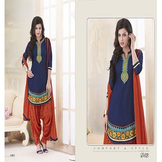 SHS Cotton Embroidered Semi Stitched Salvar Suit and Dupatta for Women