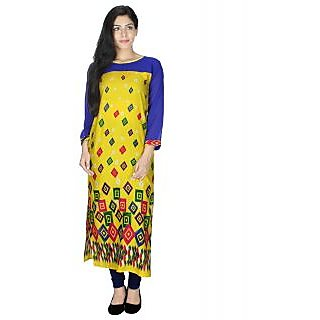 Sukuma Box Printed Round-Neck Rayon Cotton Kurti Yellow